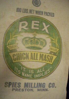 Vintage Cloth Rex Chick All Mash Feed Sack  Spies Milling Co Preston MN