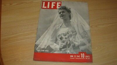 1942 Life Magazine June 22 Wwii  War Stamp Bride High Grade Lowest Price On Ebay