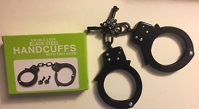 Professional Double Lock Black Chained Police Handcuffs w/Keys Real