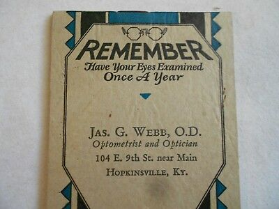 1931 Note Pad - Jas. G. Webb, O.D. / Optometrist & Optician / Hopkinsville, Ky.