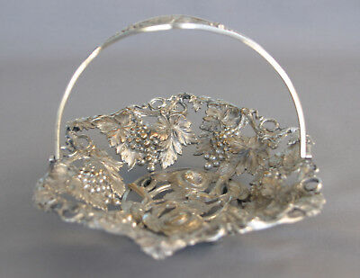 Beautiful Embossed Antique Silver Candy Dish Basket