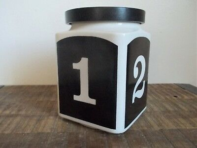 Vintage Black and White Ceramic Numbers Canister Jar
