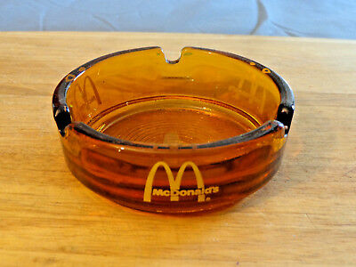 Vtg Mcdonalds Amber Glass Ashtray, Yellow Logo, Appears Unused
