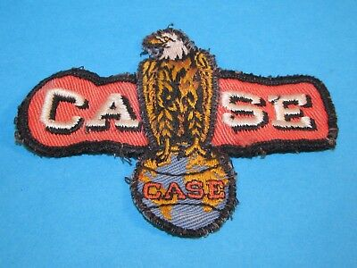 Vintage CASE Tractor Advertising Eagle on World Sew on Cloth Patch Shirt Hat ~~