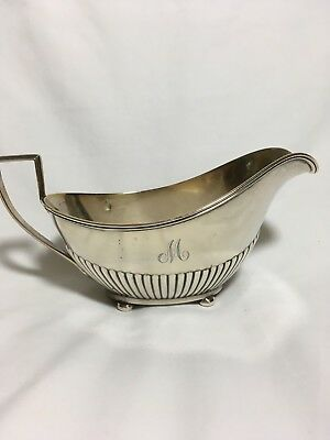 Vintage Sterling Silver Gravy Boat, Gorham style, monogrammed with an M