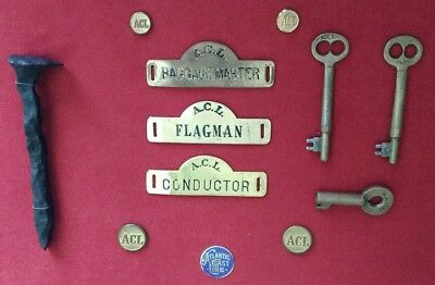 ANTIQUE Railroad Badges,Key,Button Atlantic Coast Line A.C.L ~