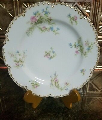 "Haviland & Co. Limoges Luncheon Plates 8.5"" Blue Pink Dougle Gold Trim"