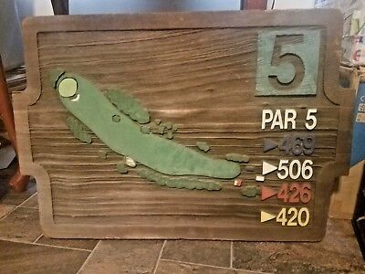 Paris Landing Golf Course Tennessee Wood Carved Hole 5 Large Sign Man Cave 24x18