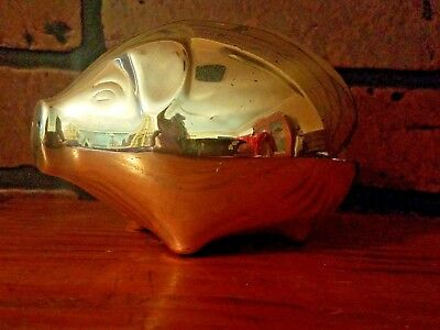 Silver Plated Still Piggy Bank Made in Denmark Vintage No Key