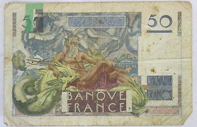 Rare French Banque de France 50 Francs 1951 Paper Currency Bill Banknote
