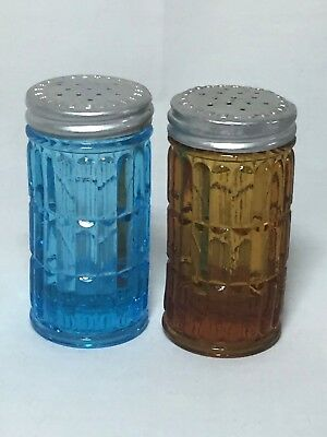 Victorian Era Colored Pattern Glass salt and pepper shakers