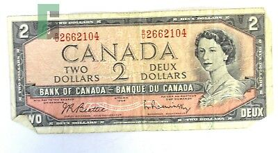 Bank of Canada Banque Du Canada 2 Two Dollars Paper Currency Bill Ottawa 1954