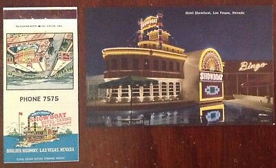 Vintage Showboat Hotel/Casino Las Vegas matchbook cover and post card