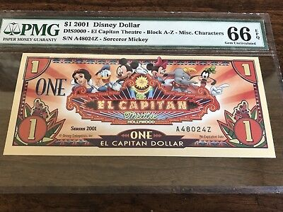 2001 $1 El Capitan Theatre: Block A-Z, Disney Dollar Pmg66
