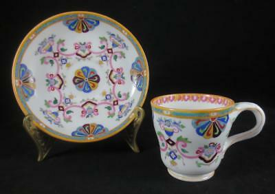Antique 1830's MNTON Hand Painted Polychrome Transferware DEMITASSE CUP & SAUCER