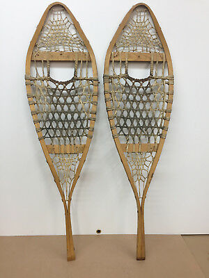 """Old Antique Vintage 12"""" X 41"""" Indian Made Snowshoes For Decor Or Arts And Craft"""