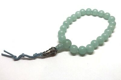 vintage Sterling Silver Accent 33 misbaha Jade Prayer Beads