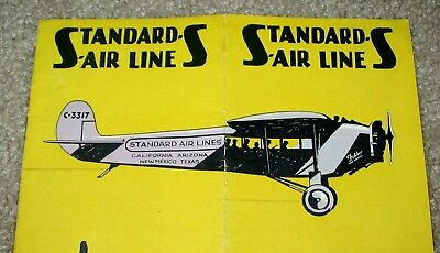 RARE 1920's Standard Air Lines Airline Multiple Page Brochure, Timetable,Train
