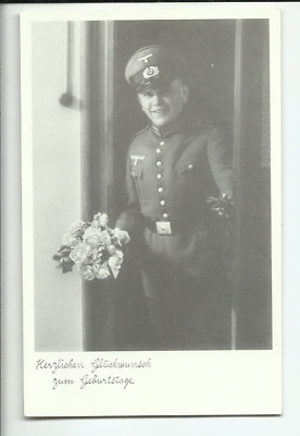 German Postcard of Smiling Third Reich Officer Holding Flowers