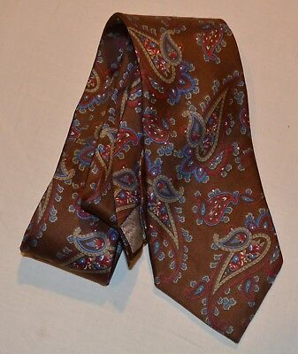 Christian Dior Men's Brown Red & Blue 100% Silk Woven In Italy Paisley Necktie