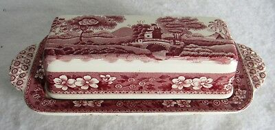 Pink Spode Tower  Hard To Find 1/4 Lb Covered Butter Dish