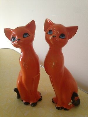 Vintage Retro Mid Century Orange Black Cat Salt & Pepper Shakers