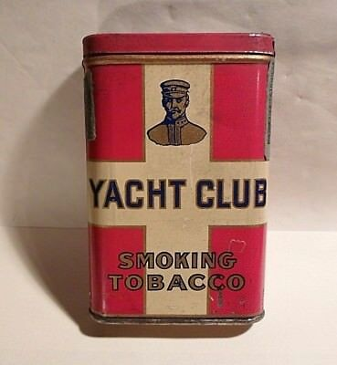 Antique Advertising Yacht Club Smoking Tobacco Vertical Tin Can W/1910 Tax Stamp