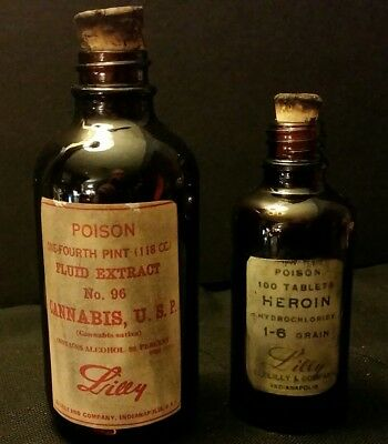 ***Vintage Style Eli Lilly Cannabis & Heroin Medicine Bottles.By Artist