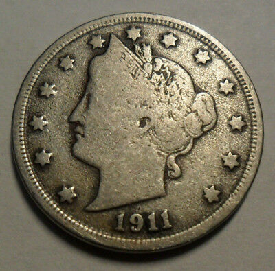 "1911 P Liberty Head ""v"" Nickel   *f - Fine*  **free Shipping**"
