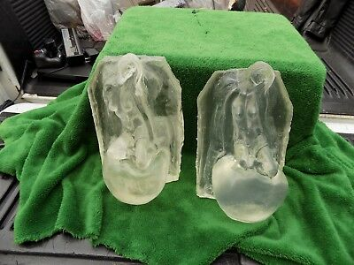 Rare Vintage Pair Of Lucite?Nude Lady On Apple Lighted Statue Lamps Estate find