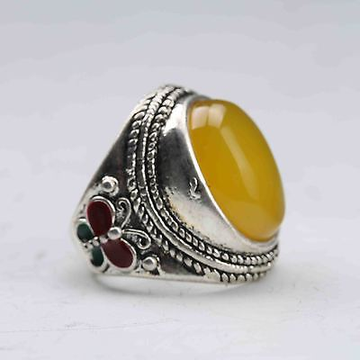 Exquisite Tibet Silver Inlaid Beeswax Handwork National Fashion Ring z305