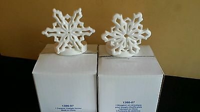 Princess House SNOW FLURRIES Ceramic TEALIGHT Candle Holders RETIRED #1380 w/Box