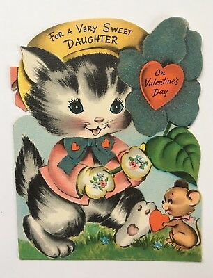 Vintage Valentine Greeting Card Die Cut Kitty Cat Mouse Flocked Flower Heart Bow