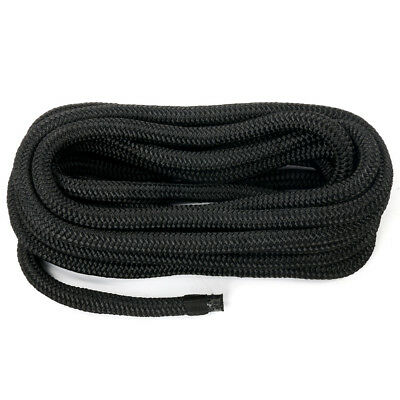 "Amarine-made 1/2"" 25FT Double Braid Nylon Dockline Dock Line Mooring Rope Black"