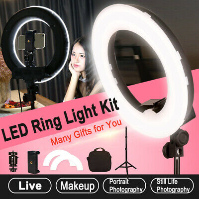 Dimmable LED Ring Light Photo Studio Lamp Light Stand Kit For Camera & Phone