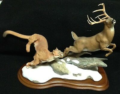 Danbury Mint Deer Hunting Figurine with Cougar Hot Pursuit by Nick Bibby