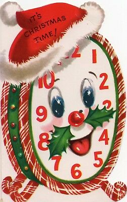 Unused Anthropomorphic Candy Cane Clock Santa Claus VTG Christmas Greeting Card