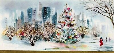 City Skyscraper Park Pretty Girl Pink Coat MCM Tree VTG Christmas Greeting Card