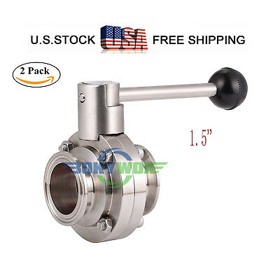 "1.5 "" 50.5mm Sanitary Grade 304 SUS Tri-Clamp Butterfly Valve Food Grade 2pack"
