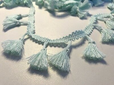 Mint Green 4cm Trim Tassel Fringe Cotton Lace Ribbon Price per 30cm DIY Craft
