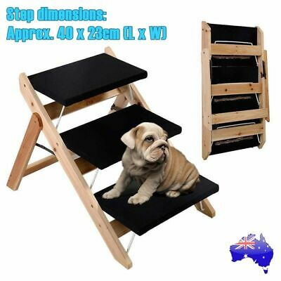 Foldable Pet Dog Cat 3 Steps Ramp Portable Doggy Stairs Ladder Washable Cover AU