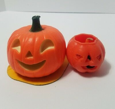"Vintage Halloween Jack O Lantern Candles Gurley 2"" and Suni 3-1/2 """