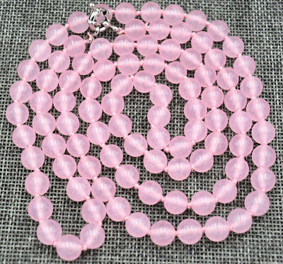 "hot Fine natural 8mm pink jade beads Gemstone Necklace 36"" AA long beautiful"