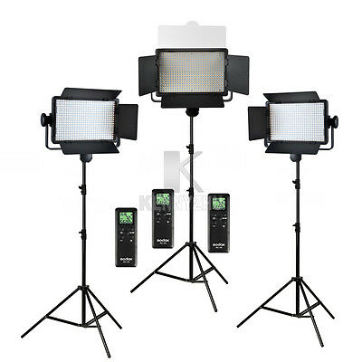 3x Godox LED500C Panel 3300-5600K Video Continuous Light 2.8m Stand Lighting Kit