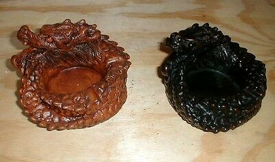 "Dragon Ashtray or Candleholder Resin 5"" d choice of (1) ONE solid Black or Brown"