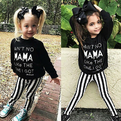 Kids Baby Girls Toddler Tops T-shirt Tee Striped Long Pants Leggings Outfits USA