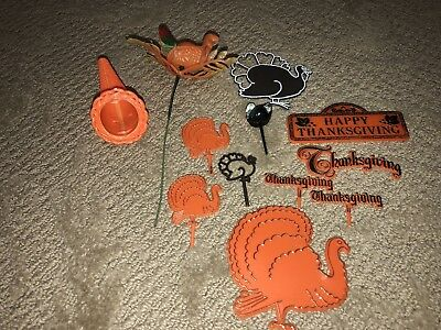 Vintage Thanksgiving Cake Toppers And Picks Set Of 12 Turkey