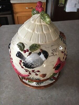 Sonoma Knollwood Cardinal Birds & Holly Christmas Winter Footed Cookie Jar Plate