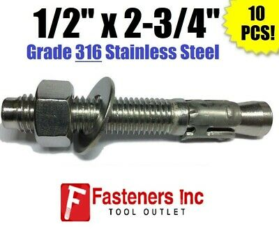 """(QTY 10) 1/2"""" x 2-3/4"""" Concrete Wedge Anchor Stainless Steel GRADE 316 1/2-13"""