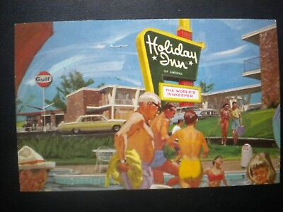 Vintage Postcard View Of A Gulf Service Station By A Holiday Inn, 1950's